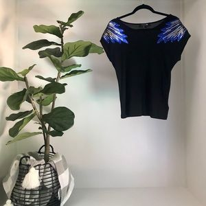 Forever 21 Black w/ Blue Sequins Top SZ SMALL